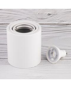 Oprawa Natynkowa HALOGENOWA Aluminiowa Biała SPOT TUBA 10cm + Żarówka LED GU10 5W 4000K Bellalux