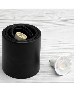 Oprawa Natynkowa HALOGENOWA Metalowa Czarna SPOT TUBA 10cm + LED 5W 6500K OSRAM