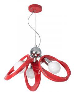 Lampa wisząca Żyrandol Emma Czerwony 3x E27 Metal i PCV Lampex Styl nowoczesny