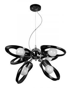 Lampa wisząca Żyrandol Emma 6 Czarny 6x E27 Metal i PCV Lampex Styl nowoczesny