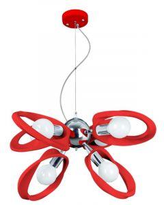 Lampa wisząca Żyrandol Emma 6 Czerwony 6x E27 Metal i PCV Lampex Styl nowoczesny