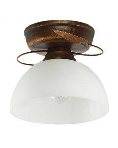 Lampa sufitowa miedź + brąz Classic Retro 1xE27 Metal i szkło Lampex