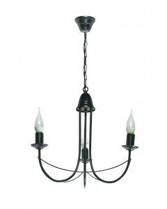 Żyrandol świecznikowy lampa wisząca świecznik klasyczny Nikozja czarny 3x E14 Metal Lampex łańcuch