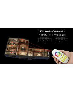 Pilot LED RGB RGB+W radiowy 4 STREFY Wi-Fi DOTYK Mi-Light - FUT096