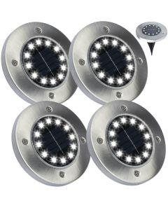 Zestaw 4x Lampka Ogrodowa 12x LED 1W SOLARNA DOGRUNTOWA Wbijana IP54