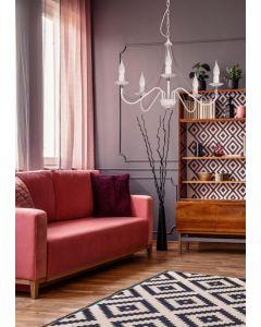 Żyrandol świecznikowy Lampa wisząca Świecznik Monic Biały 3x E14 Metal Lampex Klasyczny
