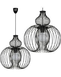Lampa wisząca NOWODVORSKI E27 Druciana Retro 5298 MEKNES Czarna Stal Śr. 44 cm