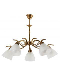 Żyrandol Dana 5  złoty 5xE27 Metal i szkło styl klasyczny retro Lampex