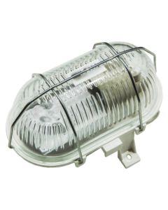 Oprawa LED E27 KANAŁOWA Lampa Garażowa Owal 100W Siatka Metal IP44 Biała KOBI
