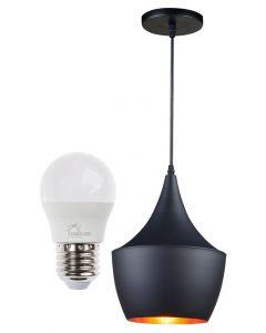 Lampa Wisząca Sufitowa LOFT Czarna E27 Volteno Emi B + Żarówka LED E27 7W 3000K LUMILED