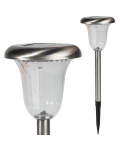 Lampa Ogrodowa LED SOLARNA chrom wbijana 6000K zimna biała 41cm