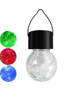 Lampa ogrodowa LED solarna wisząca KULA LED RGB szklana czarna Polux