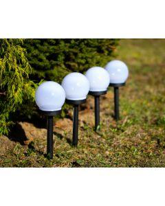Zestaw 4x Lampa Ogrodowa LED Solarna Wbijana BIAŁA KULA 10cm Polux