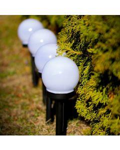 Zestaw 16x Lampa Ogrodowa LED Solarna Wbijana BIAŁA KULA 10cm