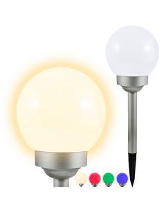 Lampa ogrodowa LED solarna BIAŁA KULA 15cm wbijana 3500K ciepła + RGB Polux