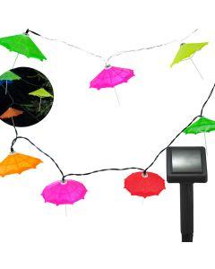 GIRLANDA SOLARNA ogrodowa OZDOBNA 10 parasolek 6500K multikolor Polux