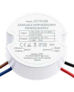 Zasilacz LED do puszki 25W  fi 60  2,08A 12V DC IP20