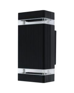 Kinkiet Ogrodowy Elewacyjny Dwustronny Czarny 2xGU10 IP44 Aluminiowy
