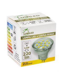 Żarówka LED MR11 2,5W = 25W 220lm LUMILED Ciepła 3000K 230V 120°