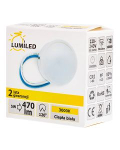 Wkład do Opraw LED Moduł INSERT Mleczny 5W 470lm 3000K 120° LUMILED