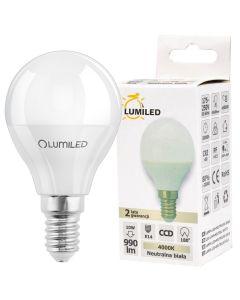 Żarówka LED E14 P45 10W = 90W 990lm 4000K Neutralna 210° LUMILED