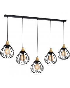 Lampa wisząca czarna MiLAGRO KANE 5x E27