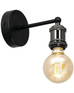 Kinkiet lampa ścienna czarna chrom MiLAGRO EDISON 1x E27