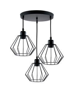 Lampa wisząca FILIS geometryczna czarna druciana loft do LED 3xE27 LUMILED