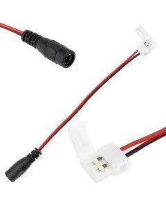 Złączka taśmy LED 2PIN 8mm Zatrzask > Gniazdo DC 2.1 z przewodem