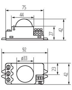 Mikrofalowy Czujnik ruchu ROLF JQ-L Biały 1200VA IP20 Kanlux