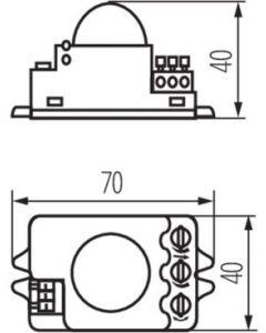 Mikrofalowy Czujnik ruchu ROLF JQ-L MINI Biały 1200VA IP20 Kanlux