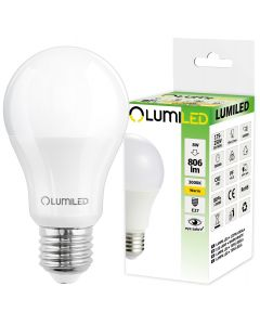 Żarówka LED E27 A60 8W = 60W 806lm 3000K Ciepła  260° LUMILED