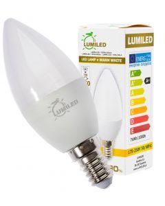 Żarówka LED ŚWIECZKA E14 7W = 65W 650lm Ciepła 3000K 180° LUMILED