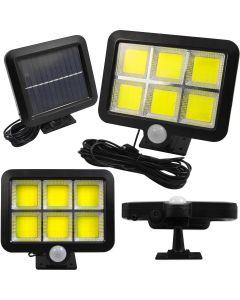Lampa Solarna Naświetlacz LED 6xCOB z Czujnikiem Ruchu i Zmierzchu IP54