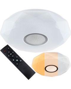 Plafon LED sufitowy łazienkowy 24W 3000-6500K Biały Okrągły Diament 39cm + Pilot