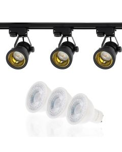 Szyna Oświetleniowa Szynoprzewód 1,5m + 3x Reflektor Szynowy GU10 Czarno-Złoty + LED GU10 3000K