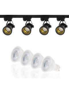 Szyna Oświetleniowa Szynoprzewód 2m + 4x Reflektor Szynowy GU10 Czarno-Złoty + LED GU10 3000K