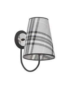 Kinkiet Lampa ścienna w kratkę Ksenia 1x E27 Metal i abażur tkanina Lampex