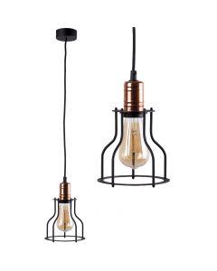 Lampa wisząca NOWODVORSKI E27 Retro Loft 6336 WORKSHOP Czarna Miedź Stal Śr. 15 cm