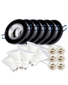 Zestaw 6x oprawa halogenowa szklana okrągła + LED 6W Ciepła GU10