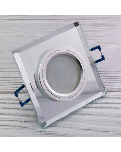 Zestaw 6x oprawa halogenowa SZKLANA kwadratowa + LED 6W Ciepła GU10