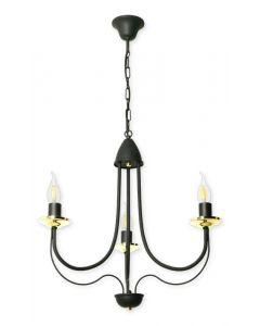 Żyrandol świecznikowy lampa sufitowa Doli 3 czarny świecznik 3xE14 Metal styl klasyczny retro Lampex