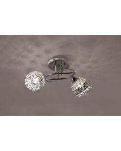Żyrandol Lampa sufitowa Amor 2 2xE27 Srebrny Chrom Metal i szkło styl nowoczesny Lampex