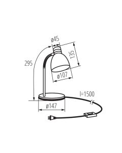 Lampka biurkowa LED E14 ZARA HR-40-B Czarna 360° Kanlux
