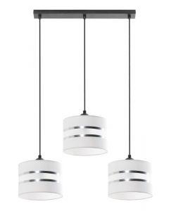 Lampa wisząca Fabio 3L Biała 3x E27 Metal i PCV Lampex Styl nowoczesny Srebrne paski