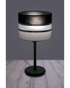 Lampa stołowa biurkowa nocna Nemia 1x E27 Metal i PCV Lampex Biało-czarna Srebrne paski