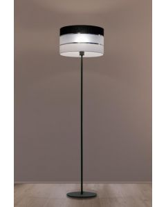 Lampa podłogowa stojąca Nemia 1xE27 Metal i tworzywo sztuczne Lampex biało-czarny abażur