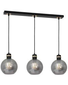 Lampa wisząca OMEGA 3xE27 Przydymione Szkło Kula MLP6531 Milagro Metal + Szkło