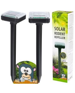 Komplet 2x ODSTRASZACZ gryzoni KRETÓW wbijany szpikulec 37cm ogrodowy LED solarny