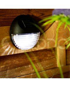 Lampa ogrodowa 2x LED schodowa elewacyjna solarna czarna 6500K zimna